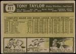 1961 Topps #411  Tony Taylor  Back Thumbnail