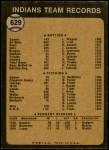 1973 Topps #629   Indians Team Back Thumbnail