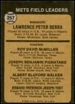 1973 Topps #257 ORG  -  Yogi Berra / Roy McMillan / Joe Pignatano / Rube Walker / Eddie Yost Mets Leaders Back Thumbnail