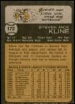 1973 Topps #172  Steve Kline  Back Thumbnail