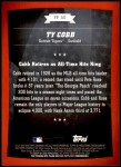 2010 Topps Peak Performance #50 PP  -  Ty Cobb Peak Performance Back Thumbnail