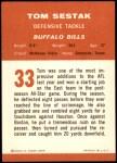 1963 Fleer #33  Tom Sestak  Back Thumbnail