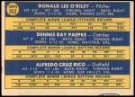 1970 Topps #552   -  Don O'Riley / Dennis Paepke / Fred Rico Royals Rookies Back Thumbnail