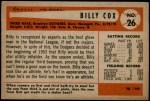 1954 Bowman #26 SS Billy Cox  Back Thumbnail