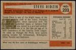 1954 Bowman #223  Steve Ridzik  Back Thumbnail