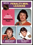 1975 Topps #211   -  Dave Schultz / Andre Dupont Penalty Minute Leaders Front Thumbnail