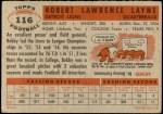1956 Topps #116  Bobby Layne  Back Thumbnail
