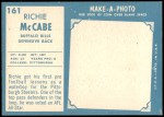 1961 Topps #161  Rich McCabe  Back Thumbnail