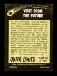 1964 Topps / Bubbles Inc Outer Limits #10   Visit From the Future  Back Thumbnail