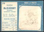 1961 Topps #79  Hugh McElhenny  Back Thumbnail