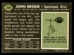 1969 Topps #249  John Brodie  Back Thumbnail
