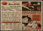 1957 Topps #144  Ken MacAfee  Back Thumbnail