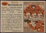 1957 Topps #102  Walt Michaels  Back Thumbnail