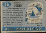 1955 Topps #28  Mel Hein  Back Thumbnail