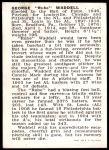 1950 Callahan Hall of Fame  Rube Waddell  Back Thumbnail