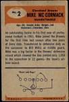 1955 Bowman #2  Mike McCormack  Back Thumbnail
