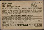 1952 Bowman Large #103  Don Paul  Back Thumbnail