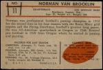1953 Bowman #11  Norm Van Brocklin  Back Thumbnail