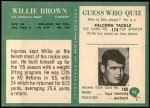 1966 Philadelphia #93  Willie Brown  Back Thumbnail