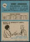1964 Philadelphia #186  Sonny Jurgensen  Back Thumbnail