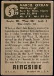 1951 Topps Ringside #5  Marcel Cerdan  Back Thumbnail