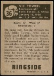 1951 Topps Ringside #36  Vic Toweel  Back Thumbnail