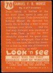 1952 Topps Look 'N See #70  Samuel Morse  Back Thumbnail