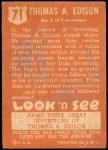 1952 Topps Look 'N See #71  Thomas Edison  Back Thumbnail