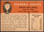 1961 Fleer #97  Dolph Camilli  Back Thumbnail