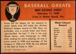 1961 Fleer #12  Max Carey  Back Thumbnail