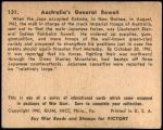 1941 War Gum #131   Australia's General Rowell Back Thumbnail