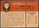 1961 Fleer #117  Addie Joss  Back Thumbnail