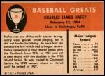 1961 Fleer #39  Chick Hafey  Back Thumbnail