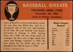 1961 Fleer #122  Ted Lyons  Back Thumbnail