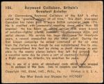 1941 War Gum #106   Raymond Collishaw Back Thumbnail