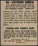 1948 Leaf #80  Ceferino Garcia  Back Thumbnail
