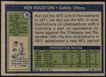 1972 Topps #78  Ken Houston  Back Thumbnail