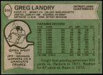 1978 Topps #316  Greg Landry  Back Thumbnail