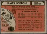 1980 Topps #78  James Lofton  Back Thumbnail