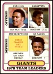 1980 Topps #94   -  Billy Taylor / Earnest Gray / Harry Carson / Terry Jackson / Brian Kelley / George Martin Giants Leaders & Checklist Front Thumbnail