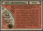 1980 Topps #67  Ken Mendenhall  Back Thumbnail