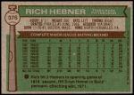 1976 Topps #376  Rich Hebner  Back Thumbnail