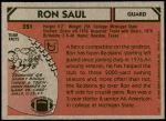 1980 Topps #351  Ron Saul  Back Thumbnail