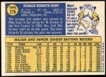 1970 Topps #276  Ron Hunt  Back Thumbnail