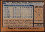 1978 Topps #442  Elliott Maddox  Back Thumbnail