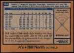 1978 Topps #163  Bill North  Back Thumbnail