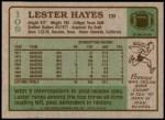 1984 Topps #109  Lester Hayes  Back Thumbnail