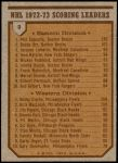 1973 Topps #3   -  Phil Esposito / Bobby Clarke Scoring Leaders  Back Thumbnail