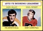 1973 Topps #3   -  Phil Esposito / Bobby Clarke Scoring Leaders  Front Thumbnail