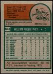 1975 Topps #644  Bill Fahey  Back Thumbnail